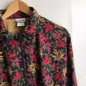 VINTAGE Fall Leaf Leaves Zip Up Topper Jacket Top